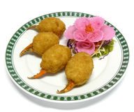 Deep fried crab claw stuffed with minced shrimp Stock Images