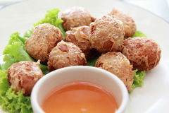 Deep Fried Crab meat roll Hoi Jo. Is Chinese foods and Thai foods Stock Photos
