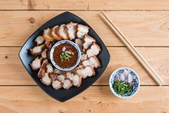 Deep Fried Crispy Pork Belly Cooked with Garlic and spicy dippin Royalty Free Stock Images