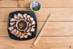 Deep Fried Crispy Pork Belly Cooked with Garlic and spicy dippin Stock Photo