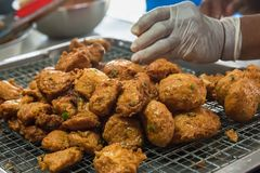 Deep fried Curry paste ocean fish or Fish curry pancake in Taling Chan Floating Markett at Bangkok, Thailand. Deep fried Curry paste ocean fish or Fish curry stock images