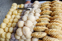 Deep fried dessert balls and curry puff, Thai style desserts in Royalty Free Stock Image