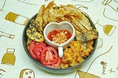 Deep fried dessert of corn ,taro ,nian gao and banana . Stock Photography