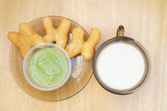Deep-fried dough stick with egg custard and soybea Stock Photography