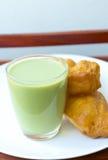 Deep-fried dough stick. And green soybean milk Stock Photography