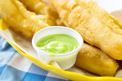 Deep-fried dough stick with pandan thai custard Royalty Free Stock Photo