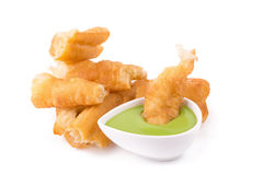 deep fried dough stick and steamed custard on white background Stock Photos