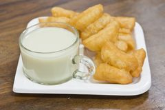 Deep fried dough sticks and a cup of soybean milk Royalty Free Stock Photos