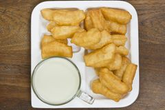 Deep fried dough sticks and a cup of soybean milk Royalty Free Stock Photography