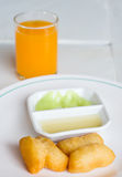 Deep-fried Dough Sticks Custard condensed milk Royalty Free Stock Image