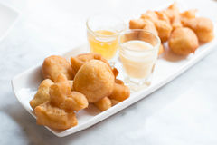 Deep-fried doughstick. And coffee on table,Thai breakfast Royalty Free Stock Photos