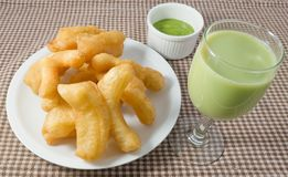 Deep Fried Doughstick with Custard Cream and Soybean Milk stock images
