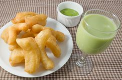 Deep Fried Doughstick with Custard Cream and Soybean Milk Stock Image