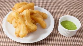 Deep Fried Doughstick with Green Custard Cream Stock Photography