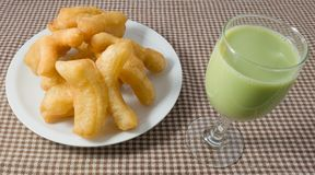 Deep Fried Doughstick with Green Tea Soybean Milk Royalty Free Stock Photos