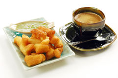 Deep-fried doughstick with local coffee stock photo