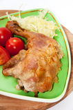 Deep fried drumstick and thigh served with tomato sauce and sala Royalty Free Stock Photos