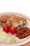 Deep fried drumstick and thigh served with tomato sauce and sala Royalty Free Stock Photo