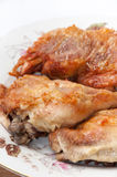 Deep fried drumstick and thigh on a white plate Stock Photo