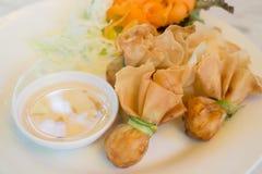 Deep fried dumpling bags local Thai cuisine. Stock photo Royalty Free Stock Photography