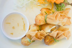 Deep fried dumpling bags local Thai cuisine. Stock photo Stock Photography