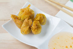 Deep fried dumpling or wonton with pork stuffed Royalty Free Stock Photography