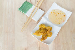 Deep fried dumpling or wonton with pork stuffed Stock Photography