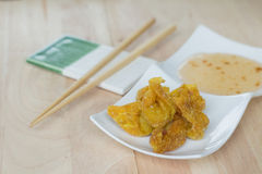 Deep fried dumpling or wonton with pork stuffed Royalty Free Stock Image