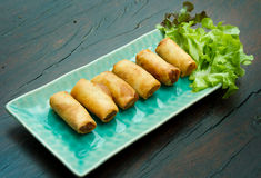 Deep Fried Egg Rolls. Fried Chinese Traditional Spring rolls food Stock Photos