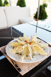 Deep fried eggplant in tempura coating Royalty Free Stock Images