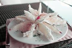 Deep fried eggplant in tempura coating, toned Stock Photos