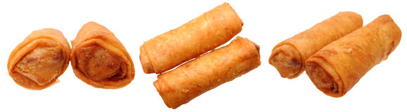 Deep fried eggroll isolated. Crunchy deep fried eggroll isolated on white Stock Image