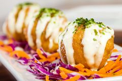 Deep Fried Fish Balls with Melted Cheese Royalty Free Stock Photography