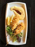 Deep fried fish brochettes Royalty Free Stock Images