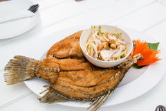 Deep Fried fish, Famouse Thai seafood menu Royalty Free Stock Photos