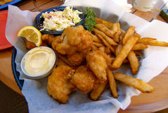 Deep fried fish fries and coleslaw Royalty Free Stock Photography