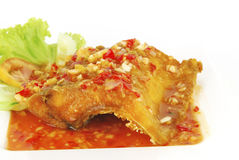 Deep fried fish meat with sweet and sour chili sauce Stock Photography