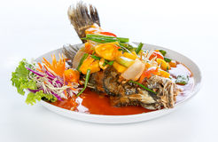 Deep-fried fish in sweet and sour souce Stock Photography
