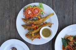 Deep fried fish with turmeric Stock Photos