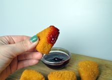 Deep-fried food - a few fried snacks with sauce Royalty Free Stock Photography
