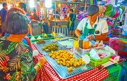 Deep fried foods in Talad Saphan Phut market, Bangkok, Thailand