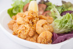 Deep fried garlic prawns Royalty Free Stock Photography