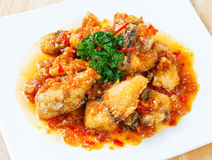 Deep fried grouper fish spicy sweet and sour sauce Royalty Free Stock Photography