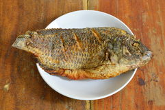 Deep fried mango fish on dish Royalty Free Stock Photo