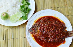 Deep fried mango fish dressing chili sauce and rice Stock Image