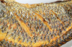 Deep fried mango fish skin texture on dish Stock Photo