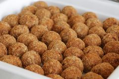 Deep fried meat balls stock photos