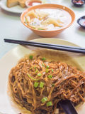 Deep fried Mee with Fish ball soup. Royalty Free Stock Photography