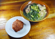 Deep fried minced pork and Chinese cabbage soup on table Royalty Free Stock Image