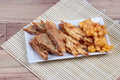 Deep fried mixed vegetable for  in Vegetable festival of Chinese as stir taro in tofu sheet,sliced taro and sweet corn fried. Stock Images